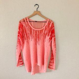 Elie Tahari Pink Ombre Sheer Top Blouse